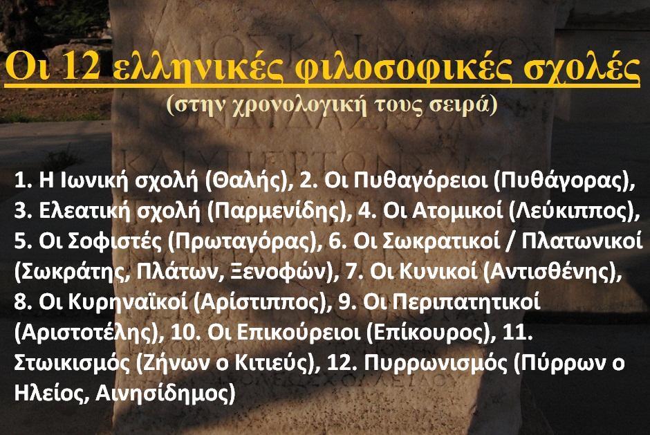 Οι δώδεκα φιλοσοφικές σχολές του Ελληνισμού