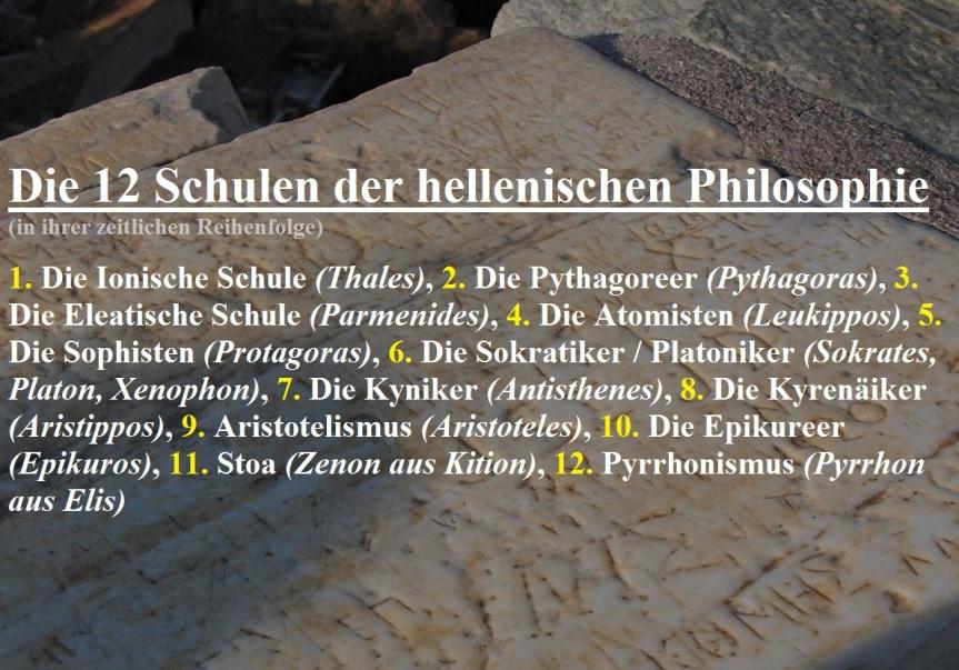Die 12 hellenischen Philosophieschulen