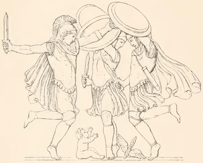 Drei Kureten tanzen um das Zeuskind